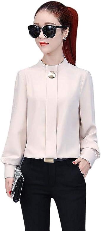 De Manga Larga Suelta Cuello Camisa De Gasa Moda Linterna Gasa Casuales Mujeres Blusa Elegante Negocio De Moda Camisa De La Oficina Tops: Amazon.es: Ropa y accesorios