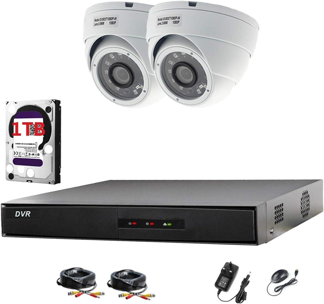 Hikvision DVR CCTV Kit con 4canales y 2x Sony cámaras domo 1080p Full HD (blanco) con 2,4MP Sony CMOS imx323Full HD TVI & 3,6mm lente 20m IR 20m BNC cables + 1TB Disco duro (preinstalado)