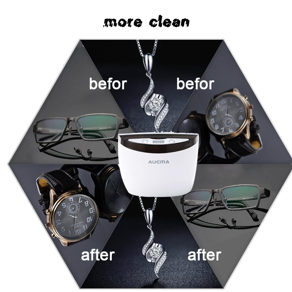 Aucma Professional Ultrasonic Jewelry Cleaner with Digital Timer for Cleaning Eyeglasses, Watches, Rings, Necklaces, Coins, Razors, Dentures, Combs, Tools, Parts, Instruments