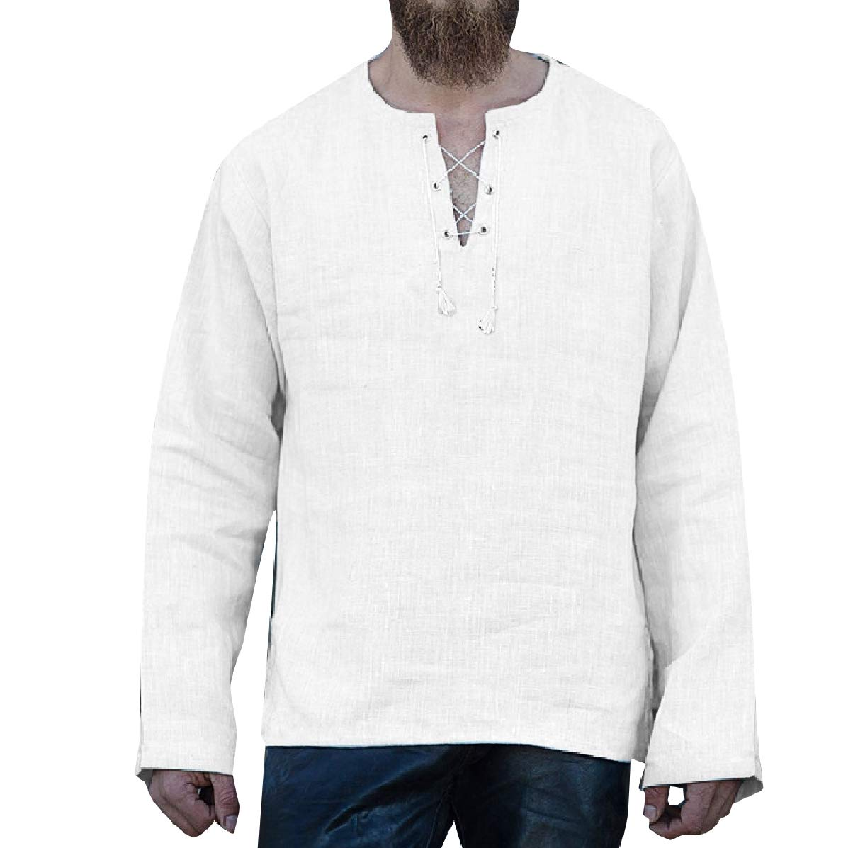 YUNY Men V Neck Ethnic Style Loose Solid-Colored Relaxed Tees Top White M