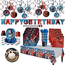 Star Wars Episode 8 The Last Jedi Party MEGA Supplies Party Pack + Decorations for 16 guests (Plates, Cups, Napkins, Tablecover, Swirl Decorations, Happy Birthday Banner, Table Decorating Kit + BONUS)