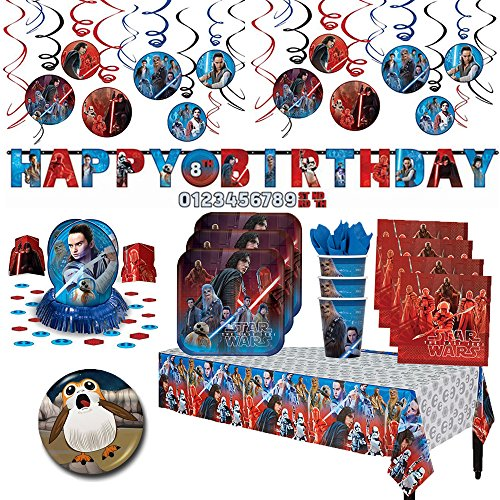 Star Wars Episode 8 The Last Jedi Party MEGA Supplies Party Pack  Decorations for 16 guests Plates Cups Napkins Tablecover Swirl Decorations Happy Birthday Banner Table Decorating Kit  BONUS