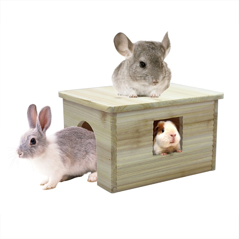 Beaks And Paws B&P Large Flat Roof Hideout House with Window 12.6x9.5x7.1 Nnatural Wood for Chinchilla Guinea Pigs Rabbit Squirrel