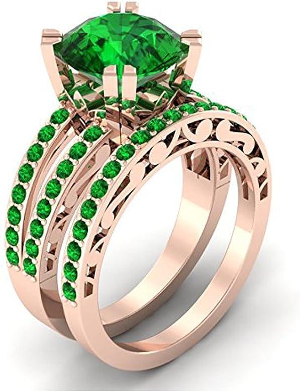 Mejor compromiso anillos de boda en 3,50 CT verde Zirconia cúbico ...