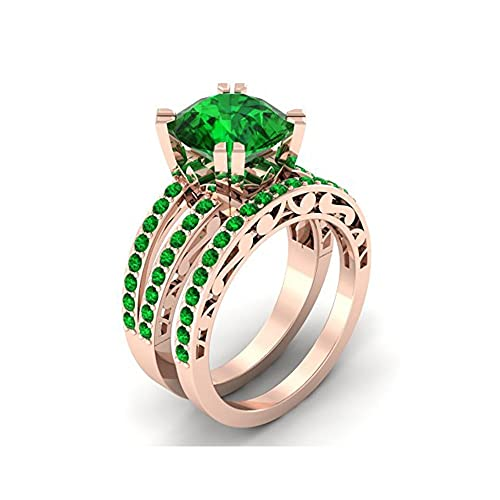 Mejor compromiso anillos de boda en 3,50 CT verde Zirconia cúbico corte redondo cristal