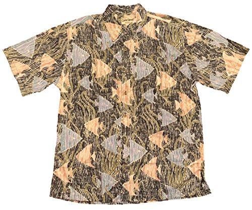 Cooke Street Men's Honolulu Classic Hawaiian Shirt (Black/Angel Fish Print, Large) ()