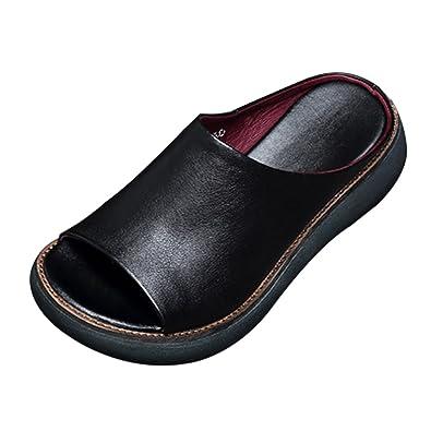 CHNHIRA Damen Sommer Keilabsatz Schuhe Pantoffel Sandale (EU 38, Braun)