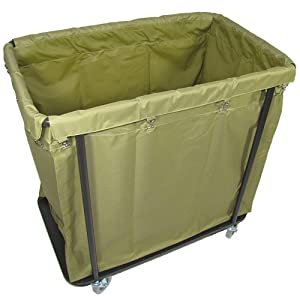 Crayata Laundry Cart, Extra Large Commercial Rolling Laundry Cart with 4 Inch Wheels, 10 Bushel Capacity, 200 Pound Weight Capacity, Heavy Duty Canvas Hamper in Khaki Green