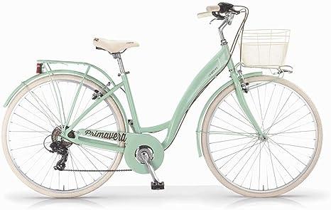 Bicicleta MBM Primavera para mujeres, cuadro de aluminio, 6 velocidades, cesta incluida, dos tamaños y seis colores disponibles (Menta, H43 (rodado 26