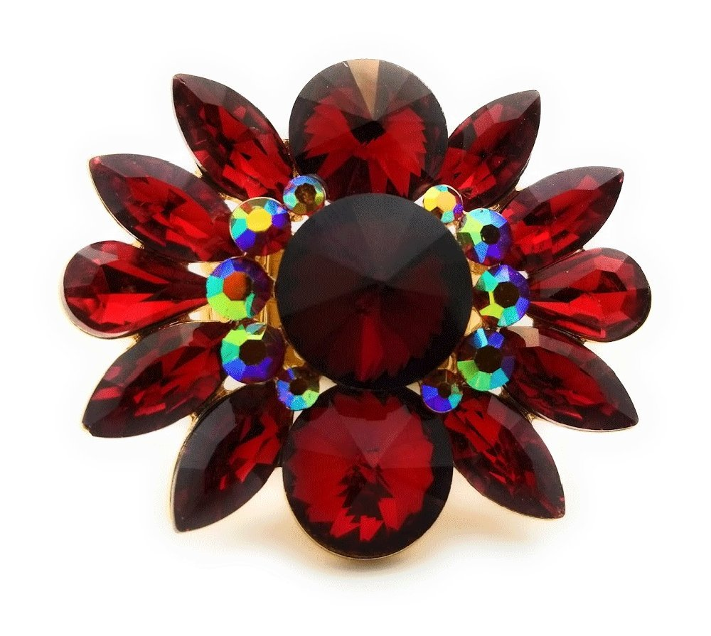 Teri's Boutique Large Flower Crystal Rhinestone Women Fashion Accessory Jewelry Adjustable Rings (Red)