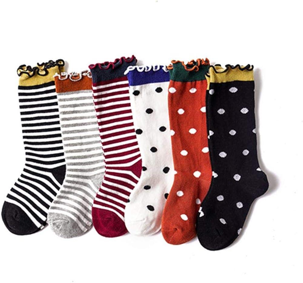 3Pairs//6 Pairs Girls Socks Knee High Lace Stockings Cute Cartoon Colorful Long Socks