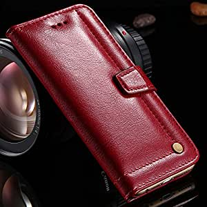 Cell Buddy 50Pcs Full Wallet Case For Iphone 6 Plus 5.5inch Genuine Leather Cover With Stand Function Phone Case For Iphone 6+ YXF04494 --- Color:Red