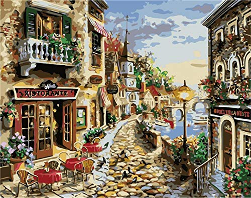 ABEUTY DIY Paint by Numbers for Adults Beginner - Seaside Garden House 16x20 inches Number Painting Anti Stress Toys (Wooden Framed)