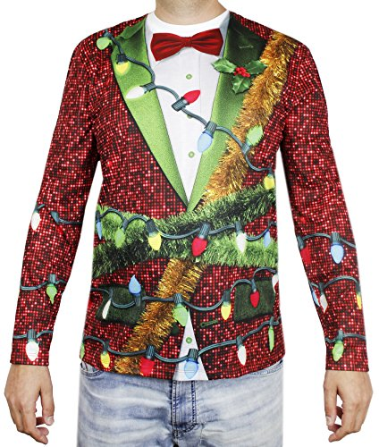Faux Real Men's Ugly Christmas Blazer Long Sleeve
