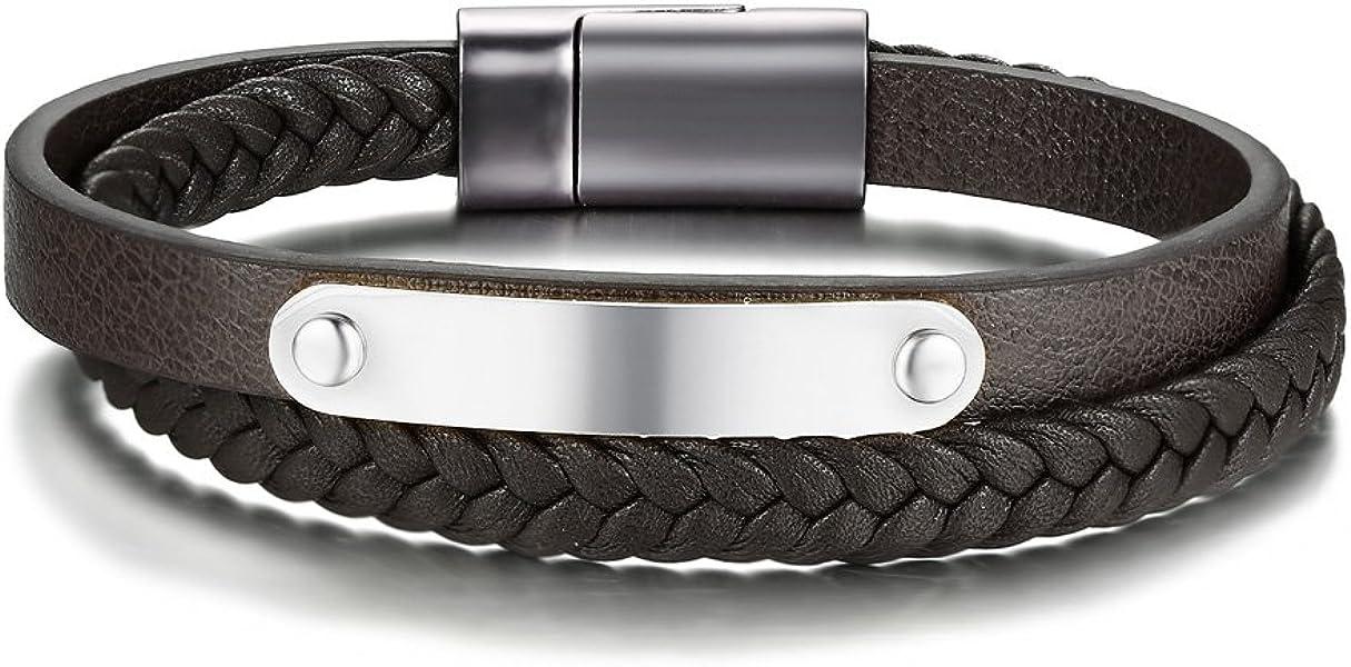 7601806004c Hommes Personnalisé en Acier Inoxydable Véritable en Cuir Tressé Bracelet  Magnétique Boucle avec Étiquette