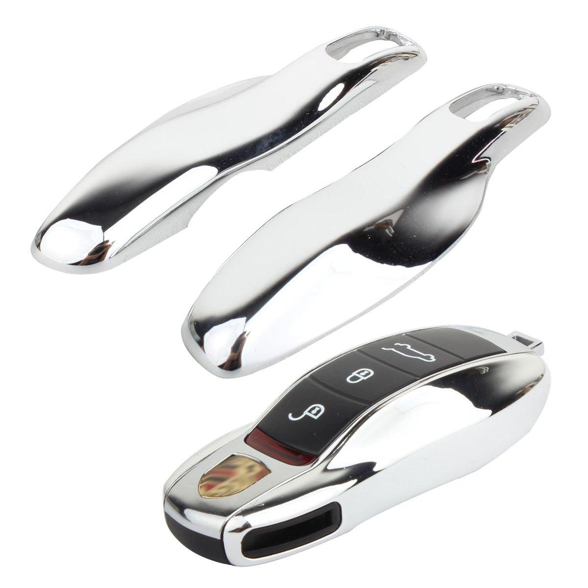 TOMALL Reemplazo Clave Cubierta Plata Chapado Cromo para Porsche Cayenne Panamera Macan 911 Carrera Clave Caja de Shell