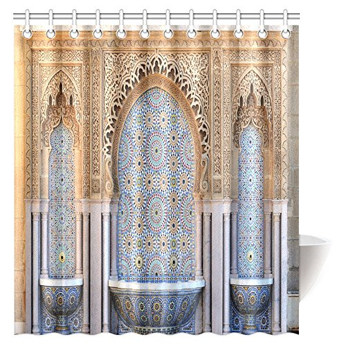 InterestPrint Moroccan Decor Shower Curtain, Vintage Building Decorated Fountain with Mosaic Tiles in Rabat Fabric Bathroom Shower Curtain 66 X 72 Inches