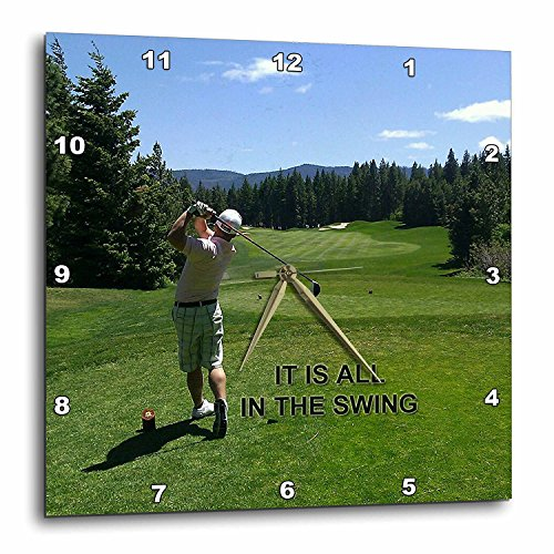 3dRose dpp_184363_1 Golfing It is All in The Swing Print-Wall Clock, 10 by 10-Inch