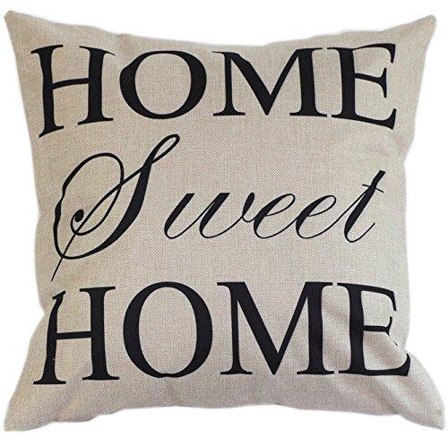 Daorier Square Pillow Cas Coussin Couverture Housse de Carré coton et lin Couvre-lit Taie d'oreiller Housse Taie d'oreiller de Décoration Mode de la Lit Canapé HOME SWEET HOME 45×45cm