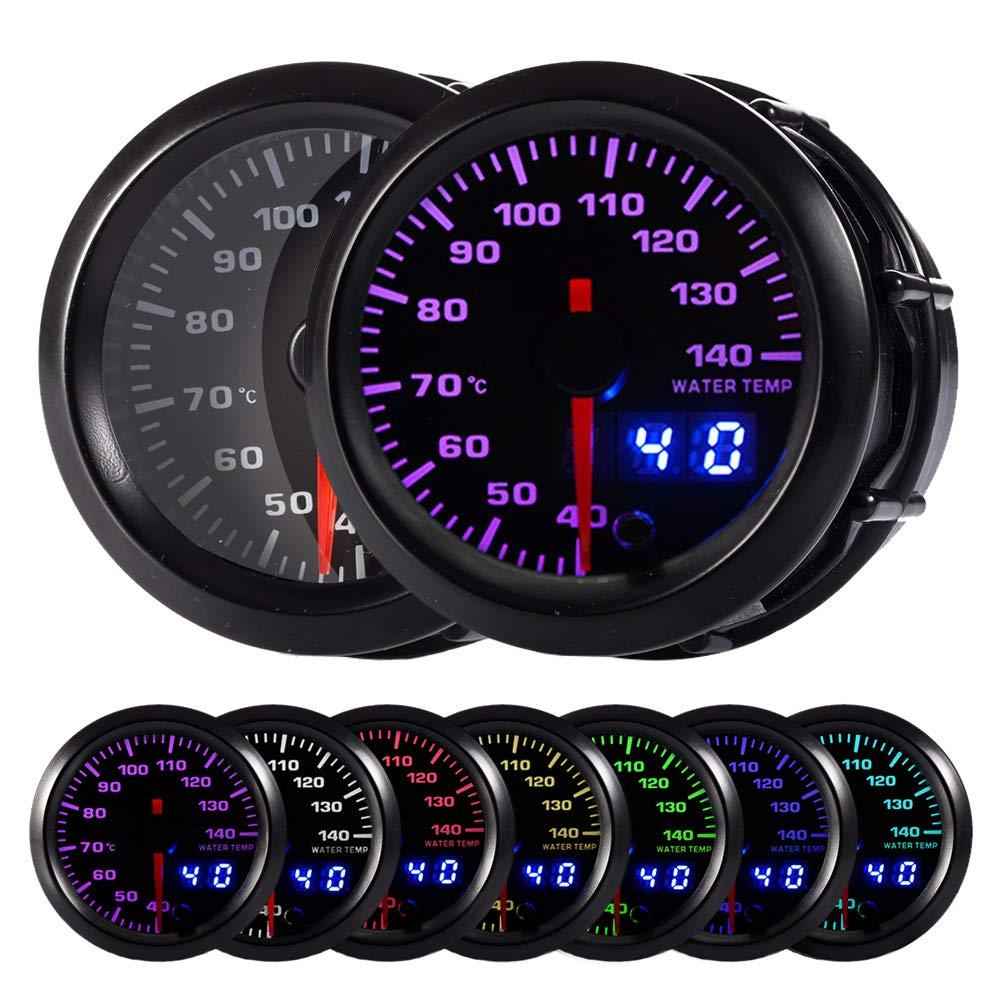 HOTSYSTEM 7 Color Water Coolant Temperature Gauge Kit 40-140 Celsius Pointer & LED Digital Readouts 2-1/16'' 52mm Black Dial for Car Truck by HOTSYSTEM