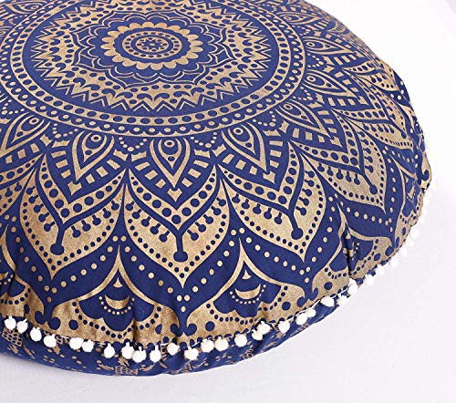 Popular Handicrafts Large Hippie Mandala Ombre Floor Pillow Cover - Cushion Cover - Pouf Cover Round Bohemian Yoga Decor Floor Cushion Case- 24