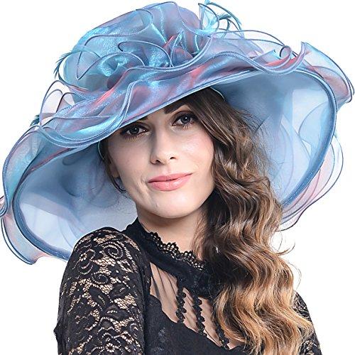 Southern Belle Hat (Women Kentucky Derby Church Dress Organza Hat Wide Brim Flat Hat (8 Colours) (S613-Peacock blue))