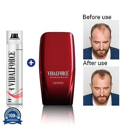 VidalForce Fibras Capilares Naturales Castaño Medio 25 gr Disimula la caida del cabello + Fijador fibra