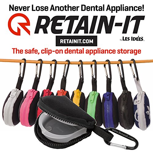 (Mouthguard Storage Case by Retain-it - Safe and Clip on - Works with Retainers and other Dental Appliance Storage,Black)