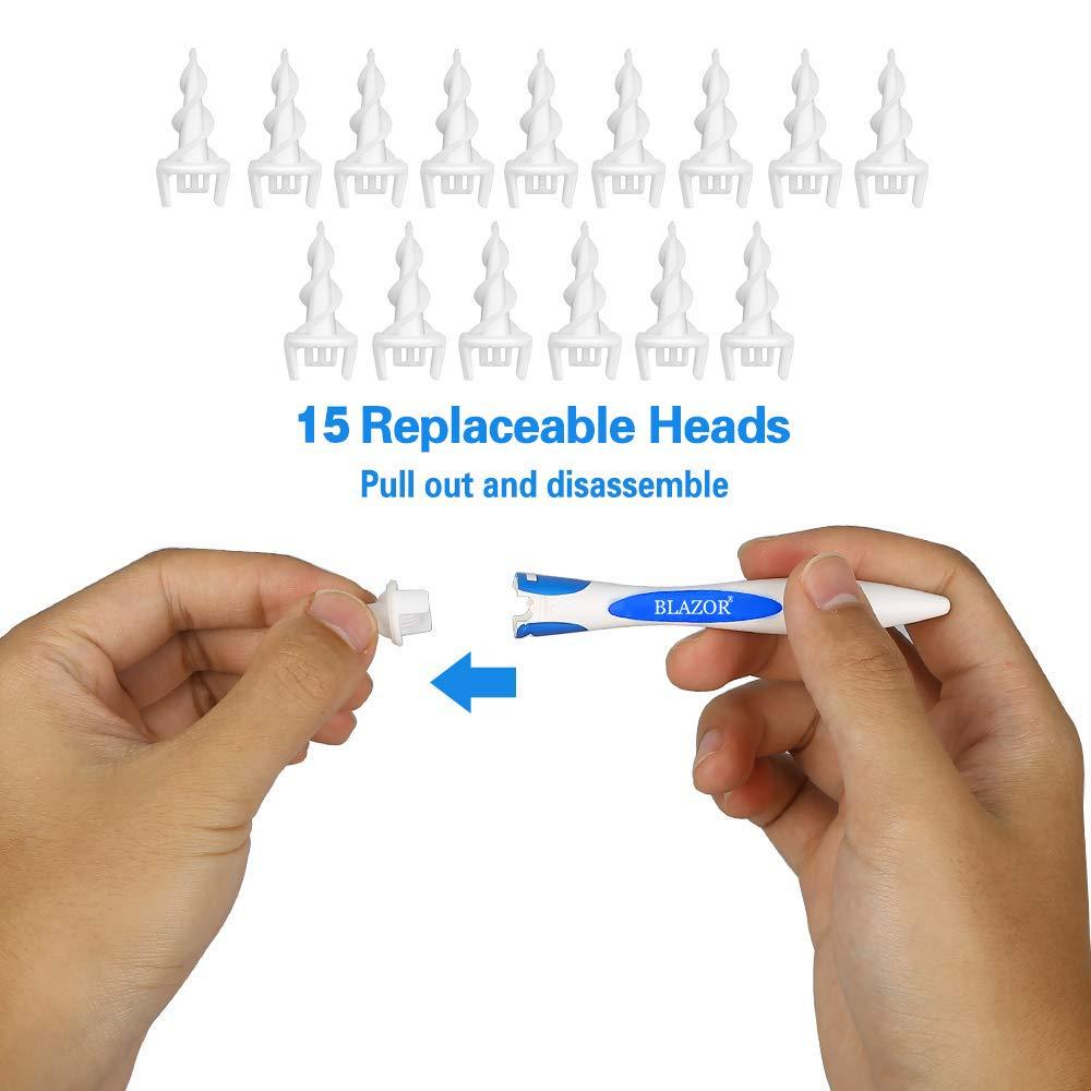 Sicherer und Weicher Spiral Ohr Wachs Entfernung Kit Mit 16 Ersatzk/öpfen f/ür Kinder und Erwachsene BLAZOR Ohrenreiniger,Spirale Silikon Intelligentes Ohrenschmalz Entferner
