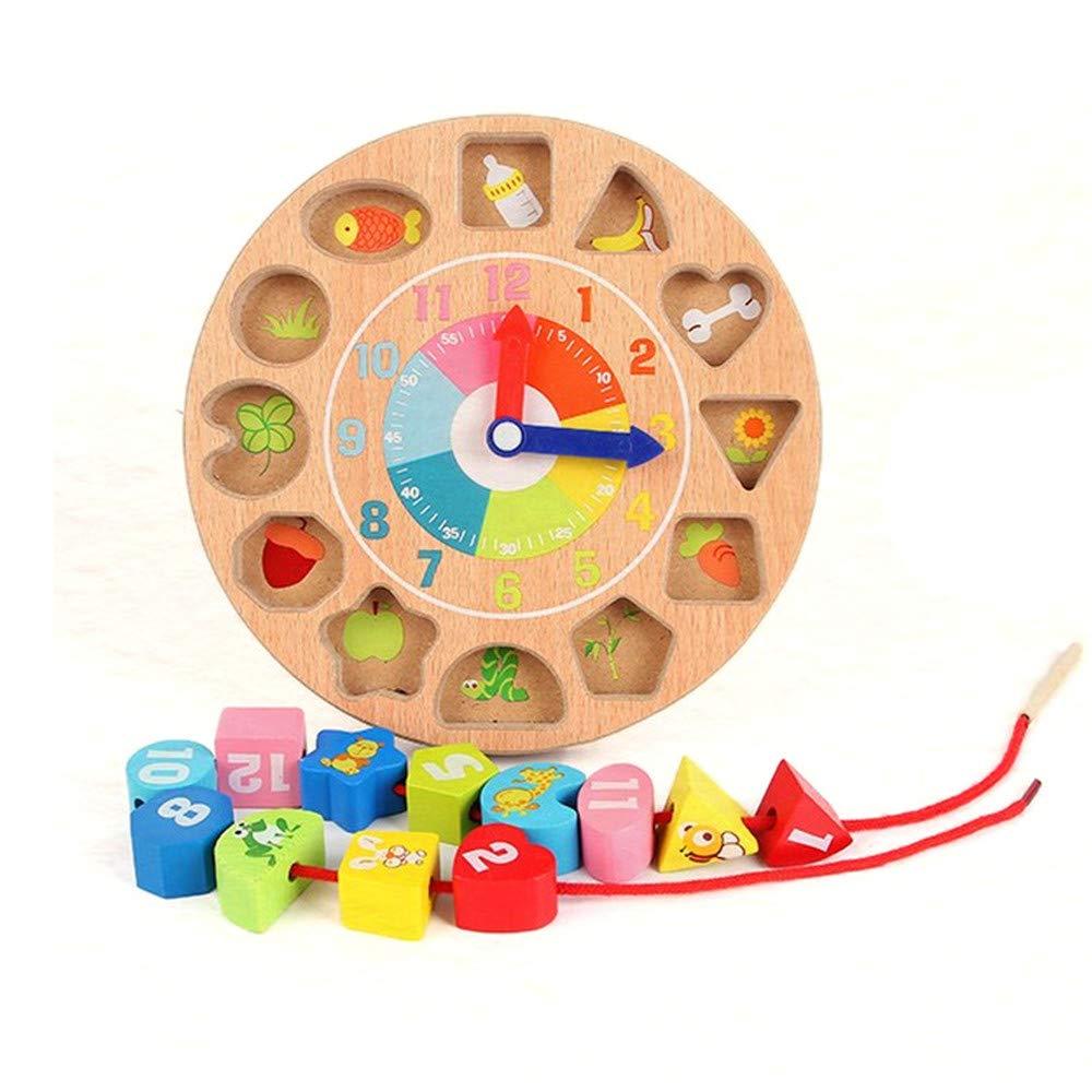 SXZHSM-Intellectual development toy Children's Good Psychic Wooden Digital Lace Toys Creative Clock Big Block Baby Beads Game