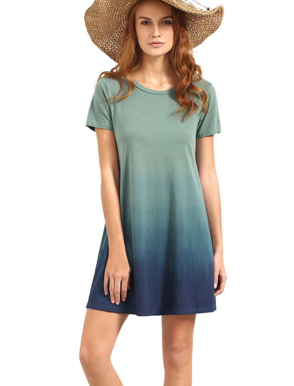 Romwe Women's Tunic Swing T-Shirt Dress Short Sleeve Tie Dye Ombre Dress Multicolor M