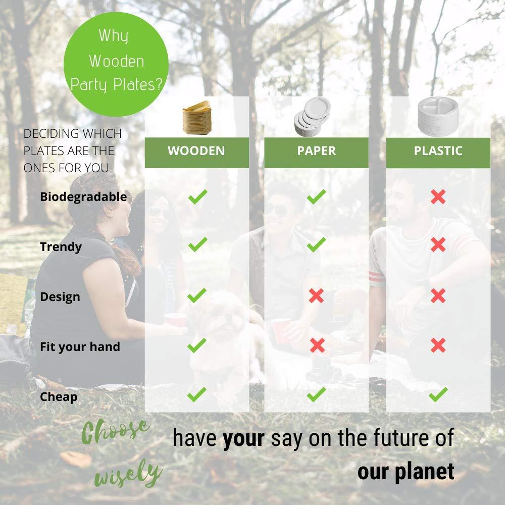 5 // 13 cm Platos de bamb/ú biodegradables ecol/ógicos platos de papel alternativa natural a los platos de pl/ástico barcos desechables 100 pcs compostables paquete de 100 unidades