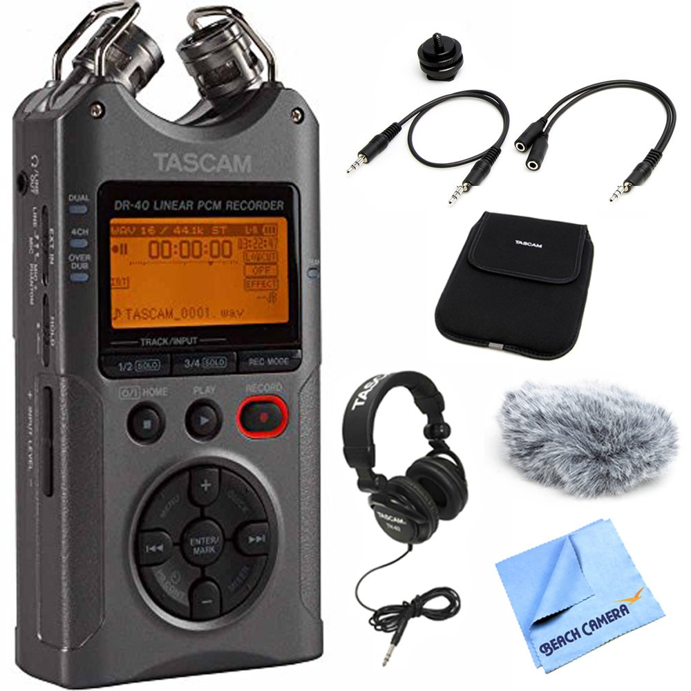 Tascam Portable Digital Recorder Luminous Gray (DR-40G) with Accessory Pack for DR Series, Closed-Back Professional Headphones Black & Beach Camera Micro Fiber Cloth E5TSDR40G