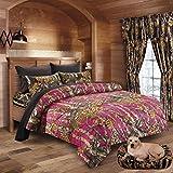 20 Lakes Hunter Camo Comforter, Sheet, Pillowcase Set (Queen, Hot Pink/Black)