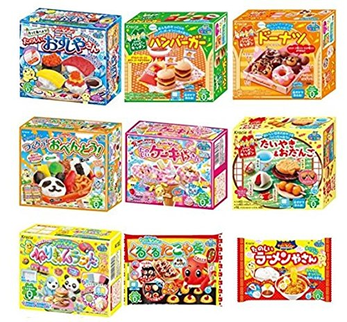 Kracie Popin Cookin 9 Item Bundle with Sushi, Hamburger, Bento, Takoyaki, Cake Shop and More by Kracie