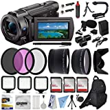 Sony FDR-AX33 4K Ultra HD Handycam Camcorder Video Camera + Action Handle + LED Lights + Mic + Bag + Monopod Extra Memory + Flexi Tripod + Cleaning Set + Action Accessory Bundle Kit