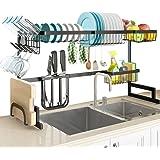 SLENPET - Escurridor de platos para el fregadero, ajustable (84 - 104 cm), estante de suministros de cocina con soporte para