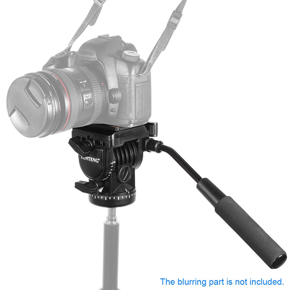 Andoer Tripod Action Fluid Drag Head Video Tilt Pan Damping Head with Handle Quick Release Plates for Camera Monopod Slider Rail
