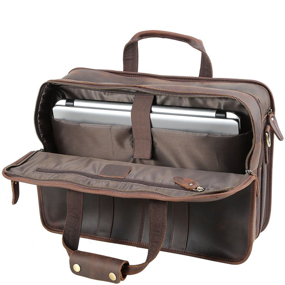 Color : Brown, Size : OneSize ASNMSMDL Business Briefcase Leather Office Retro Style Zip Closure Crossbody Bag 17 inch Laptop Bag Multi-Pocket Classic