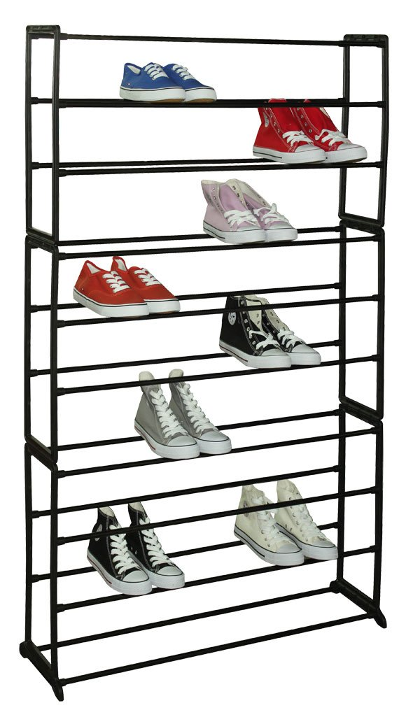 Amazon.com: Sunbeam 30 Pair Metal And Plastic Shoe Rack, Black: Home U0026  Kitchen
