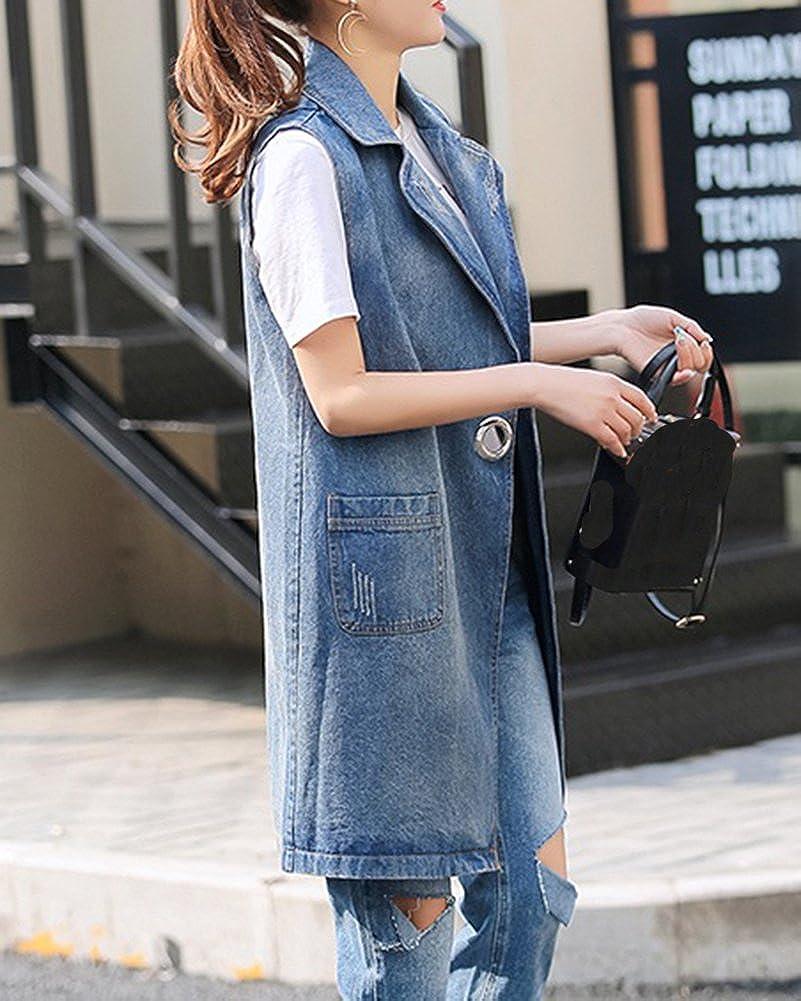 625e31bc55b9 Gilet sans Manche Femme Vintage Veste en Jean Gilet en Denim Veste Lungo   Amazon.fr  Vêtements et accessoires