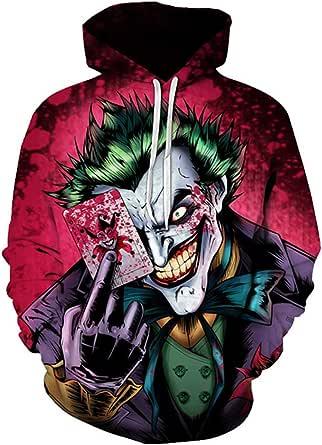 Family 3D Clown Print Pullover Hooded Sweatshirt Hoodies Big Pockets Man Woman Child
