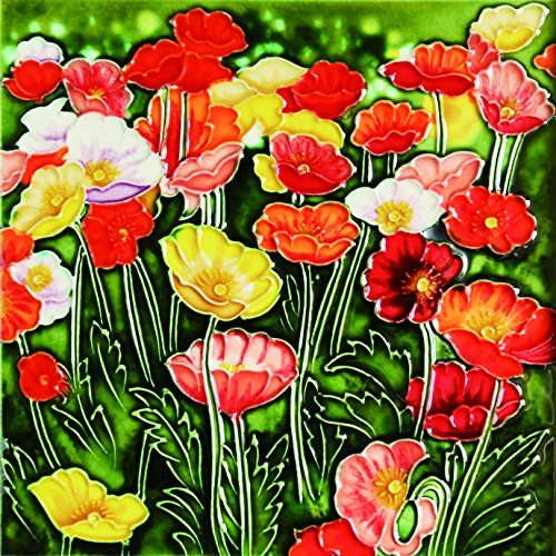 Multicolor Poppies Flower - Decorative Ceramic Art Tile - 8