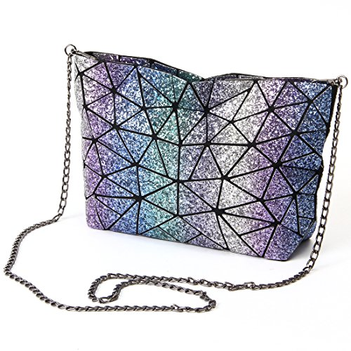 Chiclinco Rainbow Clutch Plaid Crossbody Evening Women Sparkly Geometric Handbags for Bag Rainbow wPg7PrYO
