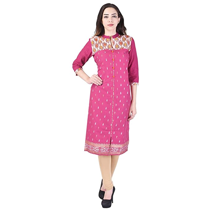 59f9bfda322 Image Unavailable. Image not available for. Color  Vihaan Impex Indian  Kurtis for Women Kurti Kurtas for Women Bust Size 40 Inches Pink Kurti