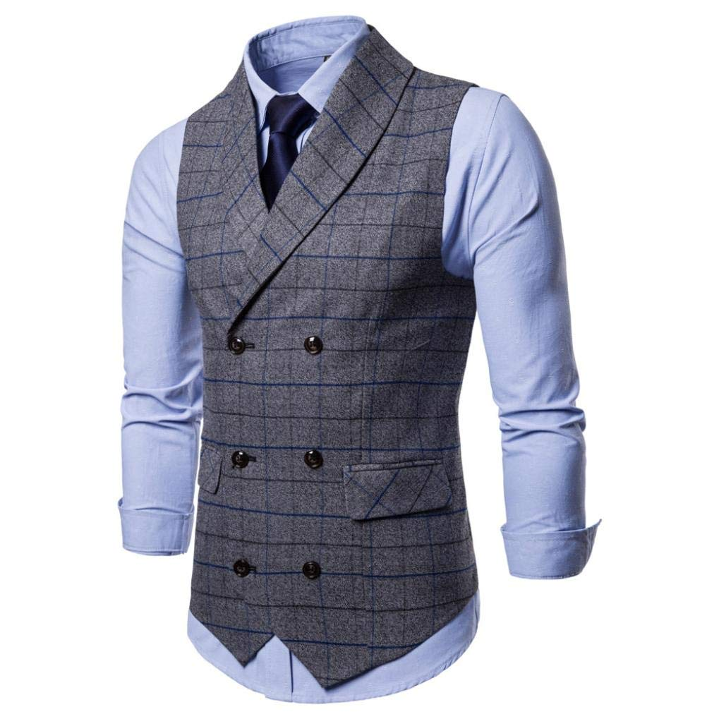 iLXHD Casual Men Plaid Printed Sleeveless Jacket Coat Suit Vest Blouse by iLXHD (Image #3)