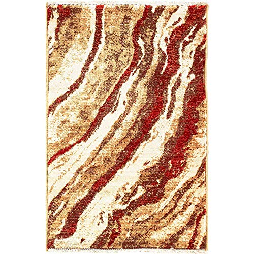 (M by Liora MQU23816124 Marquee Classic Canyon Wave Indoor Rug 2' X 3' Red, Beige, Cream and)