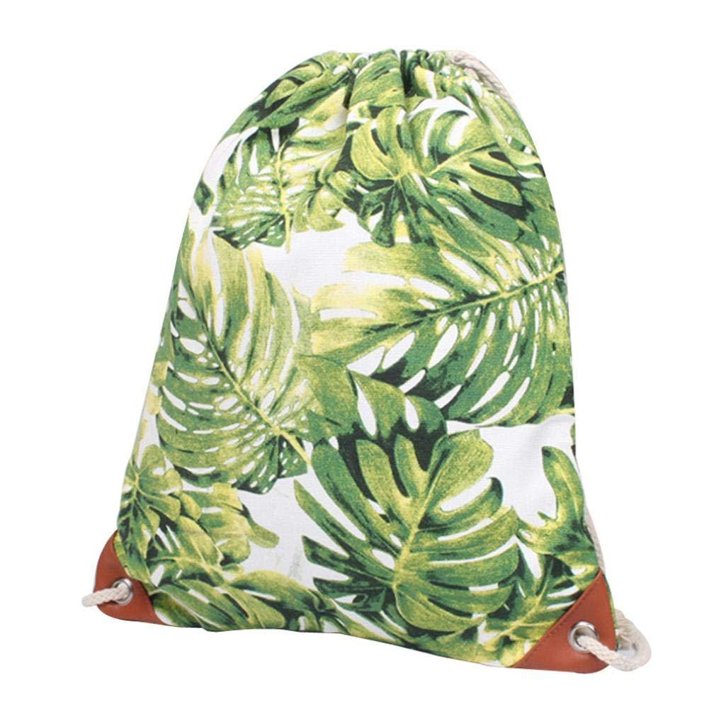 Shybuy 巾着型バックパックバッグ ファッションキャンバスドット/葉プリント シンチサック 旅行 ジム ストリング バックパック スモールバッグ B07GPX3KR6 A 13(L)*0.4W)*15.4(H)\
