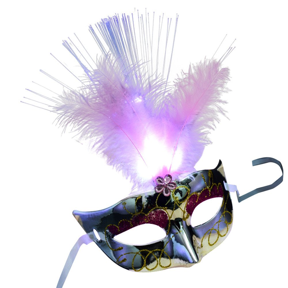 Clearance Sale Halloween Mask,Vanvler Women Venetian LED Fiber Mask Masquerade Fancy Dress Party Princess Feather Masks (Silver)