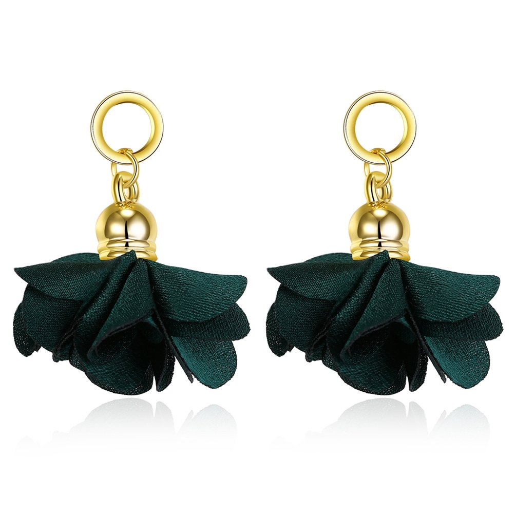FENDINA Women's White Flower Dangle Earrings Gold Plated Silk Fabrics Lotus Studs Hoop Earrings Five Colors